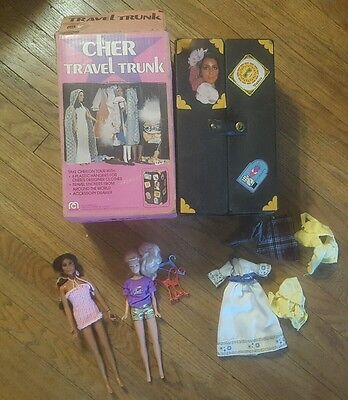 Vintage 1977 Mego Cher Doll,Travel Trunk, and clothes