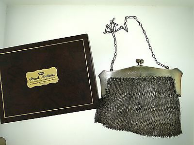 Antique Sterling Silver Ornate Mesh 5 1/4-Inch Purse