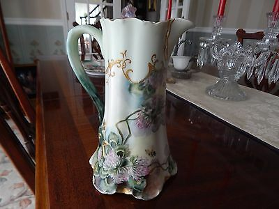 Antique Hand Painted Haviland Limoges Pitcher Tankard with Bee and Flowers