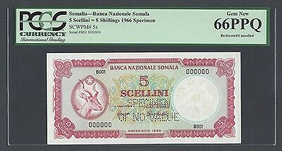 Somalia 5 Shillings 1966 P5s Specimen Perforated Uncirculated