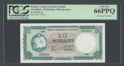 Somalia 10 Shillings 1966 P6s Specimen Perforated Uncirculated