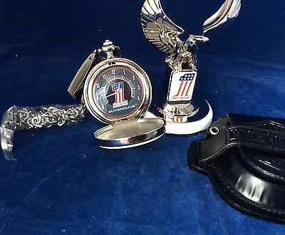 Harley Davidson Pocket Watch 1998 Superglide NIB with Stand & Leather Pouch
