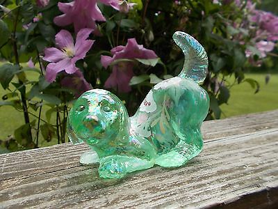 Fenton Glass Hand Painted Green Irridescent Playful Puppy Figurine