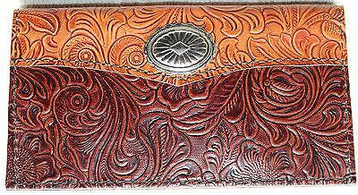 Lg Concho On Tan & Chocolate Western  Leather Checkbook Cover Free Shipping