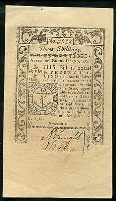 1786 3s THREE SHILLINGS STATE OF RHODE ISLAND COLONIAL CURRENCY