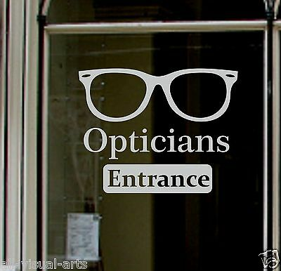 Large Custom etch Sign for Optician window adhesive sticky vinyl shop WHITE