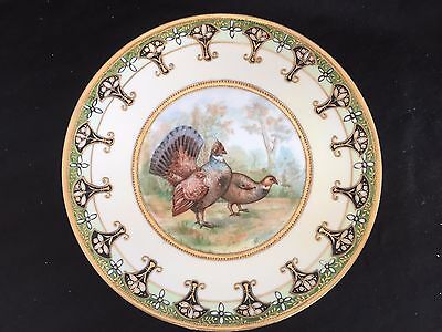 Antique Hand Painted Nippon Turkey Pheasant  & Gold Gilt Moriage Plate 1911-1921