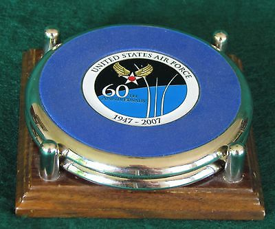 2 Chrome Coasters With Cork Backing - 1 U.s..air Force 60Th Anniversary, 2 Aviat