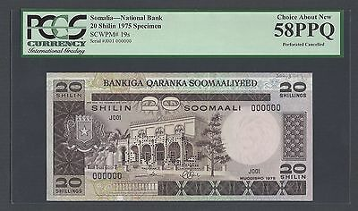 Somalia 20 Shillings 1975 P19s Specimen Perforated About Uncirculated