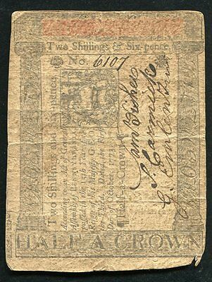 OCTOBER 1, 1773 2s 6d TWO SHILLINGS SIX PENCE PENNSYLVANIA COLONIAL CURRENCY