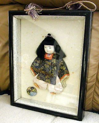 Vintage Japanese Kinekomi Doll With Ball In Framed Shadow Box Nice