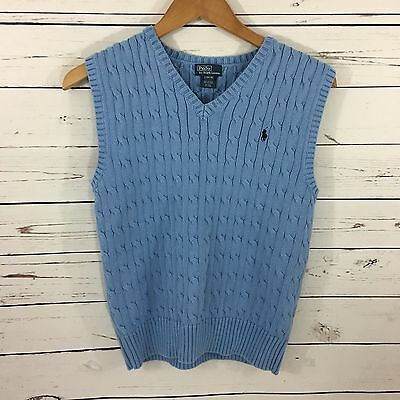 Boys Polo Ralph Lauren Blue Sweater Vest Large 14-16 Cable Knit Sleeveless