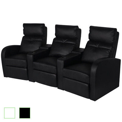 Artificial Leather 3-Seat Home Theater Recliner Sofa Lounge Seats Black/White