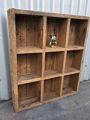 Small Vintage Industrial Antique Timber Rustic Pigeon Hole Storage Shelf Box Mel