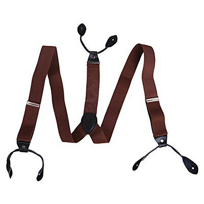 Adjustable 6 Button Hole Leather Mens Suspenders Braces Solid New 3.5cm Width