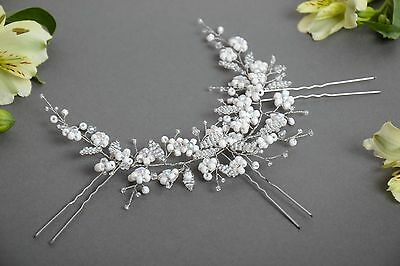 Handmade Designer Hair Accessory With White Beaded Flowers With Hair Pins