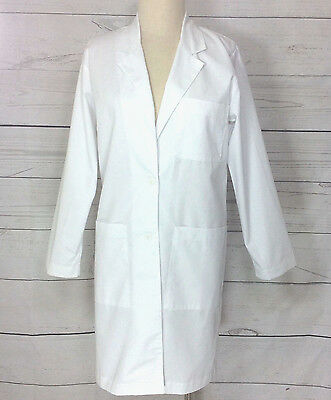 Long White Scrub Lab Coat Womens  8 from Peaches   Cotton Blend  NWT