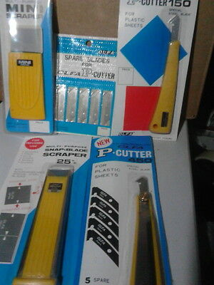 5 pack set of scraper and plastic / acrylic sheet cutting tools. p cutter