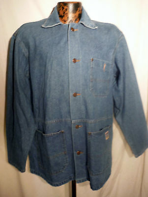 Vintage Mens BIG SMITH button up Usa made denim Chore Barn Work Jacket sz L