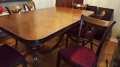 Antique Dining table, Mahogany, with 3 leaves and pads plus 6 Tell City Chairs