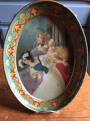 Antique 7  X  9 Oval Painted Metal Tray