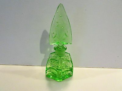 Czech Type Green Floral Etched Perfume Bottle