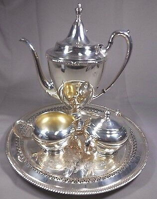 Vintage Antique Rogers Silver Plated Coffee Tea Pot Service Set  Plate Tray