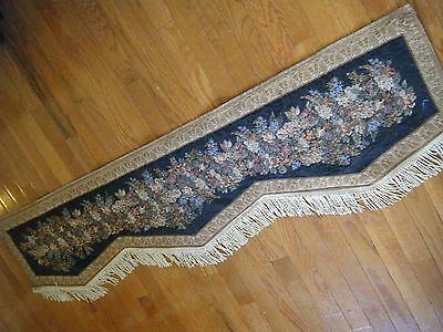 "Old  vintage French Valance with fringes tapestry fabric 60"" by 17"""