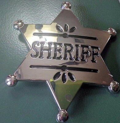 ♈ Old West Sheriff Belt Buckle  ♈ Chrome mirror finish Great gift.Western