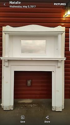 """Fireplace mantel White Antique 72"""" tall by 60"""" wide"""