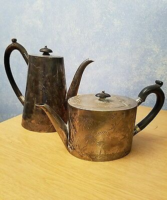 Set of 2 ANTIQUE SILVER PLATED TEAPOTS Cranes and Bamboo