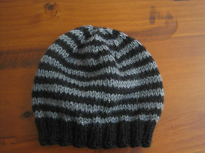 Baby Beanie 0-3 months Black/Grey Hand Knitted BRAND NEW