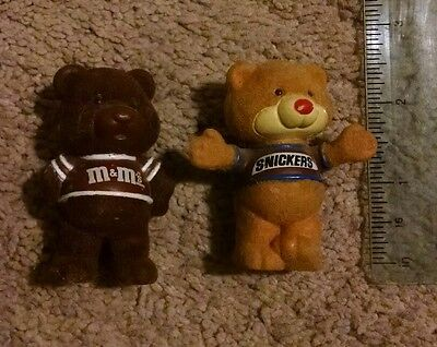 """Snickers M&Ms Bear Lot Advertising 1987 Flocked M&M 2.5"""" Tall Mars Candy"""