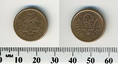 Barbados 2010 - 1 Cent Copper Plated Steel Coin - Broken Trident