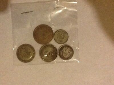 5 silver coins from 5 diff countries