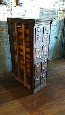Quarter Sawn Oak Note Card Catalog File Cabinet Study Office Macey Globe