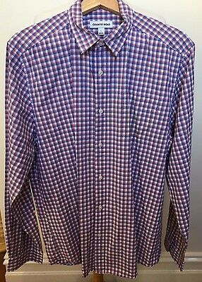 COUNTRY ROAD | Regular Fit Cotton Check Long Sleeve Work Business Shirt ~ Large