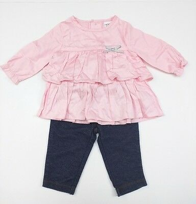 CARTER'S 3M 3 Months Pink Ruffle Top & Denim Leggings Outfit CUTE - EUC