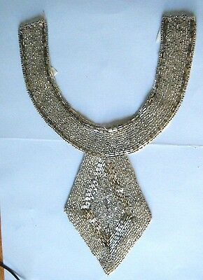 Vintage Art Deco Beaded Collar Silver Seed and Tube Beads Classic Desig