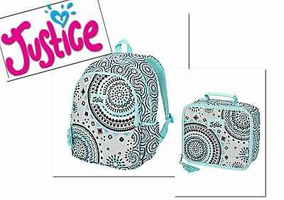NWT JUSTICE Girls Mint Medallion Backpack Rucksack and Lunch Box Tote Set