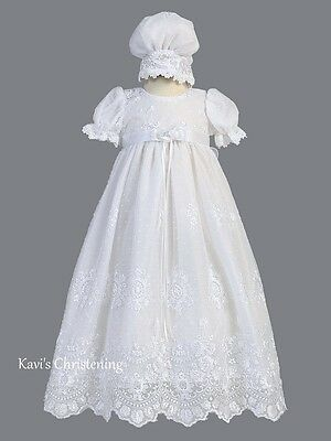 Girls White Christening Dress Baptism Gown Embroidered Tulle Size 0-18M Madison