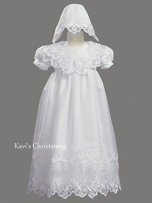 Girls White Christening Gown Baptism Dress Embroidered Organza Size 3-24M 2560