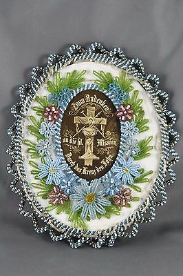 Souvenir of the Sacred Mission in Glass Beaded Frame Floral Victorian Germany