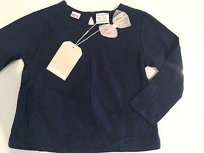 NWT Zara Baby Toddler Girls Blue Cotton Long Sleeve Top, Size 2-3 years