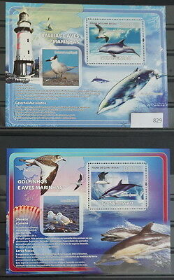 S0 0829 Whales, Dolphins Guinea-Bissau MNH  Dolphins Lighthouses