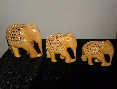 Set of 3 Hand Carved Wooden Elephant Figurines Baby Inside