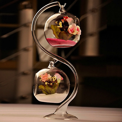 Clear Glass Round with 1 Hole Flower Plant Hanging Vase Home Wedding Decor