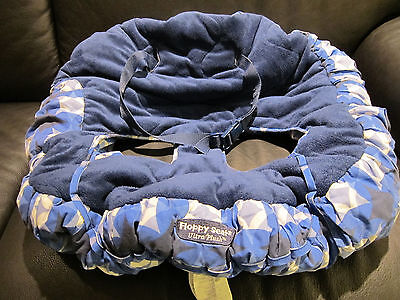 Floppy Seat Ultra Plush Cart & Restaurant High Chair Cover, EUC, Blue & White