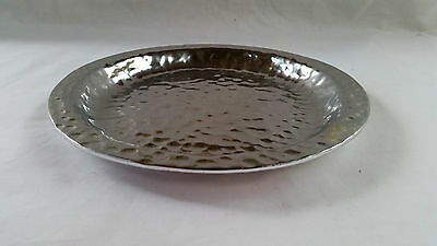 "Don Sheil Vintage Siigned Metal Alloy Tray 20.5cm  ""Hand Raised Patern"""