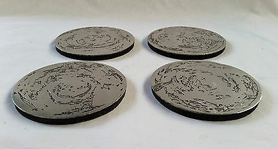 "Don Sheil Vintage Metal Alloy Drink Coasters x 4 ""Swirll Patern"""